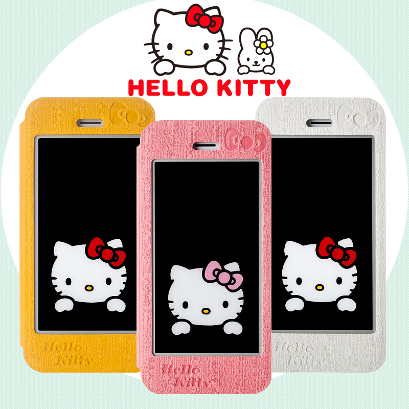 Hello kitty hello kitty clamshell mobile phone sets windows holster apple 5s iphone5s phone shell cute