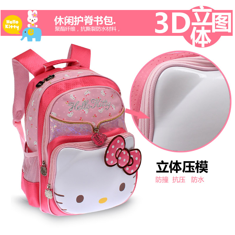 Hello kitty hello kitty girl students bag old child protection ridge shoulder bag backpack cute girls in grades 8