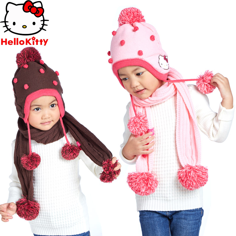 Hello kitty hello kitty girls hat scarf piece fitted children warm winter baby hat knitted hat head ear warmers