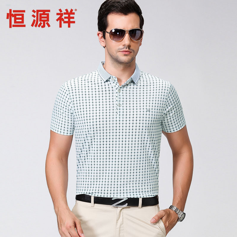 Heng yuan heng yuan xiang 2016 new summer genuine men short sleeve plaid shirt collar business casual t-shirt men