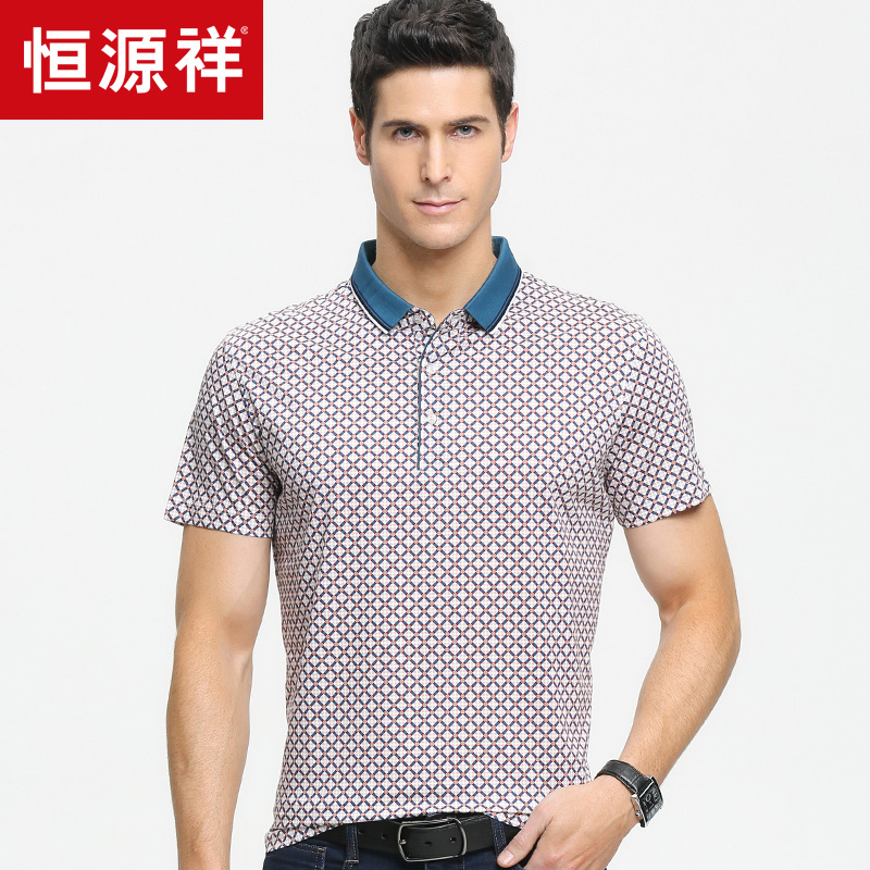 Heng yuan heng yuan xiang short sleeve t-shirt 2016 summer new lapel cotton diamond lattice sub middle-aged middle-aged summer short sleeve t-shirt