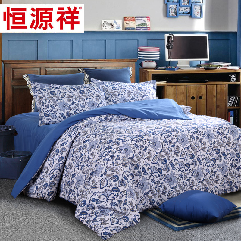 Heng yuan xiang classic european and american family of four/peach linen quilt bedding minimalist style atmosphere and elegant