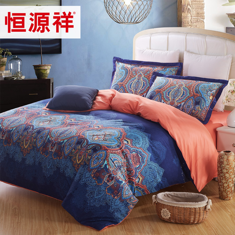 Heng yuan xiang textile bedding cotton reactive printing a family of four cotton sheets quilt kit genuine
