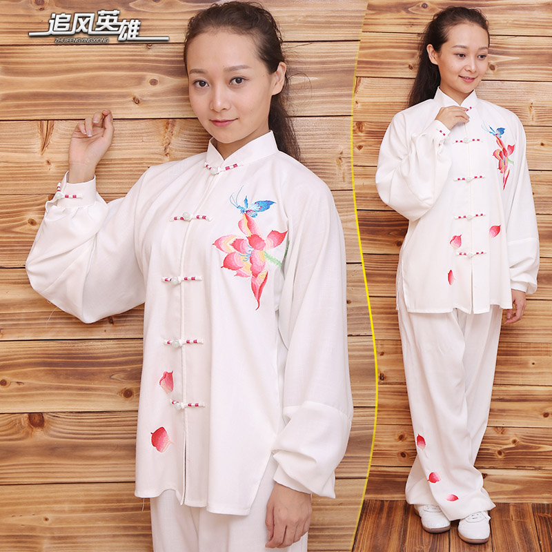 Herd hero slubby hemp clothing tai chi practice tai chi tai chi clothing fall and winter clothes women embroidered embroidery tai chi clothing