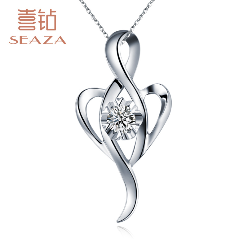 Hi diamond hearts k white gold diamond pendant necklace clavicle single diamond necklace female models to send a chain birthday gift