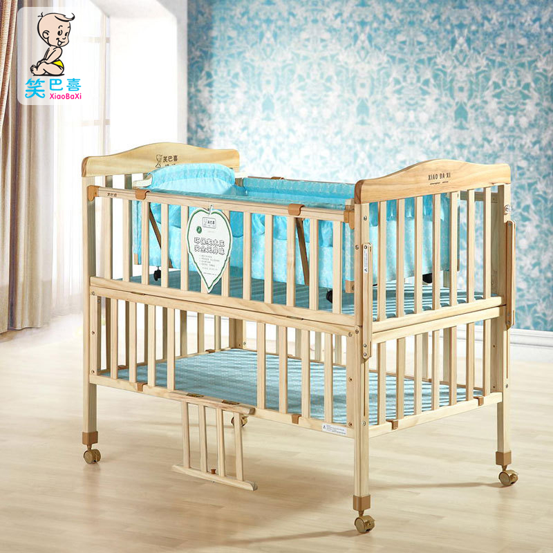 Hi laugh pakistan crib all solid wood without paint green multifunction cradle variable double bb baby crib send nets