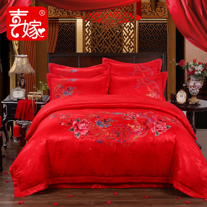 Hi marry wedding liu jiantao a family of four big red wedding flower bedding cotton embroidered linen quilt 1.51.8m