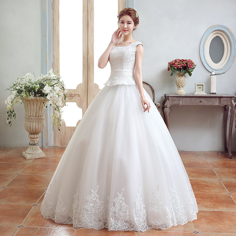Hi square 2016 spring and summer new korean word shoulder wedding dress the bride wedding qi u collar shoulders Wedding dress