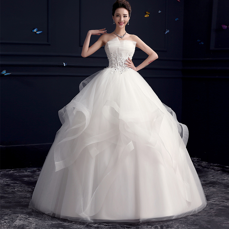 Hi square wedding dress 2016 summer new korean bra qi was thin bride wedding word shoulder Wedding dress