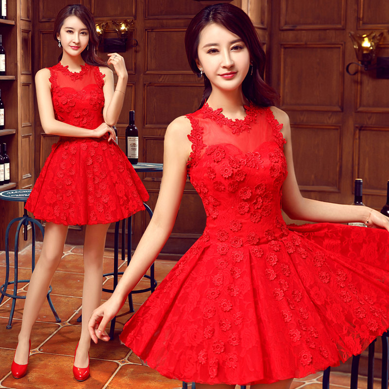 Hi square wedding dress new 2016 summer dress bride wedding dress red dress toast clothing evening dress short paragraph