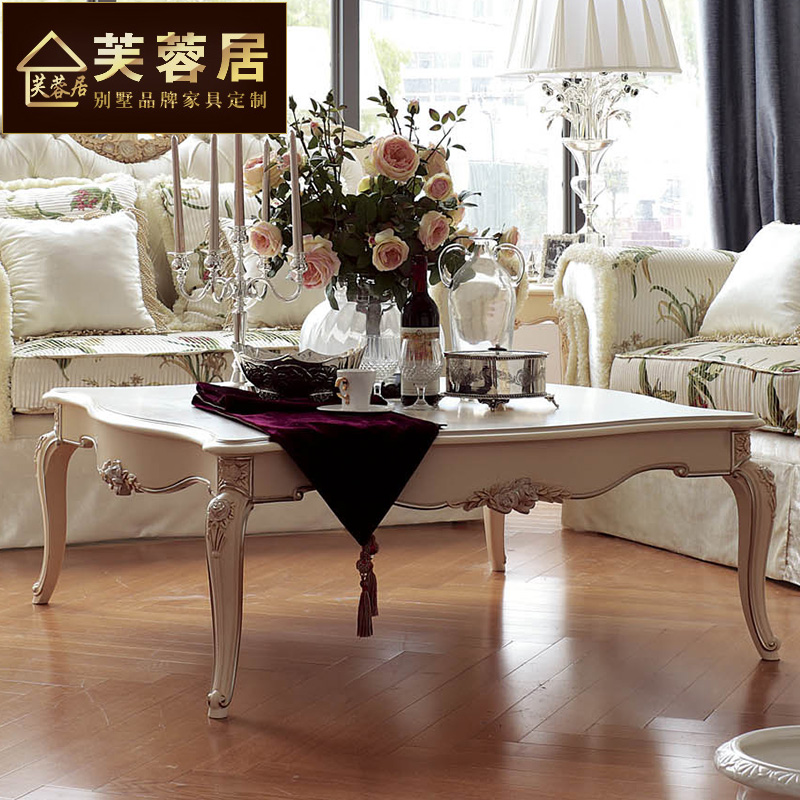 Hibiscus habitat post modern new classical european solid wood coffee table carved coffee table coffee table white villa clubhouse coffee table