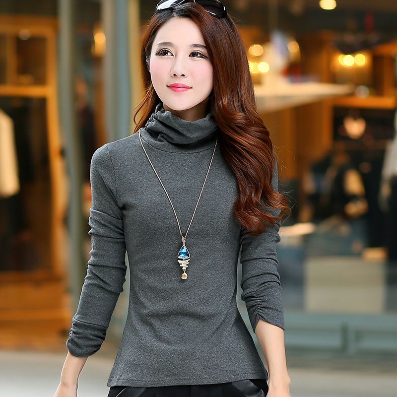 High collar bottoming shirt female wild thin cotton clothes spring and autumn long sleeve t-shirt fat mm large size piles collar thickening women's winter