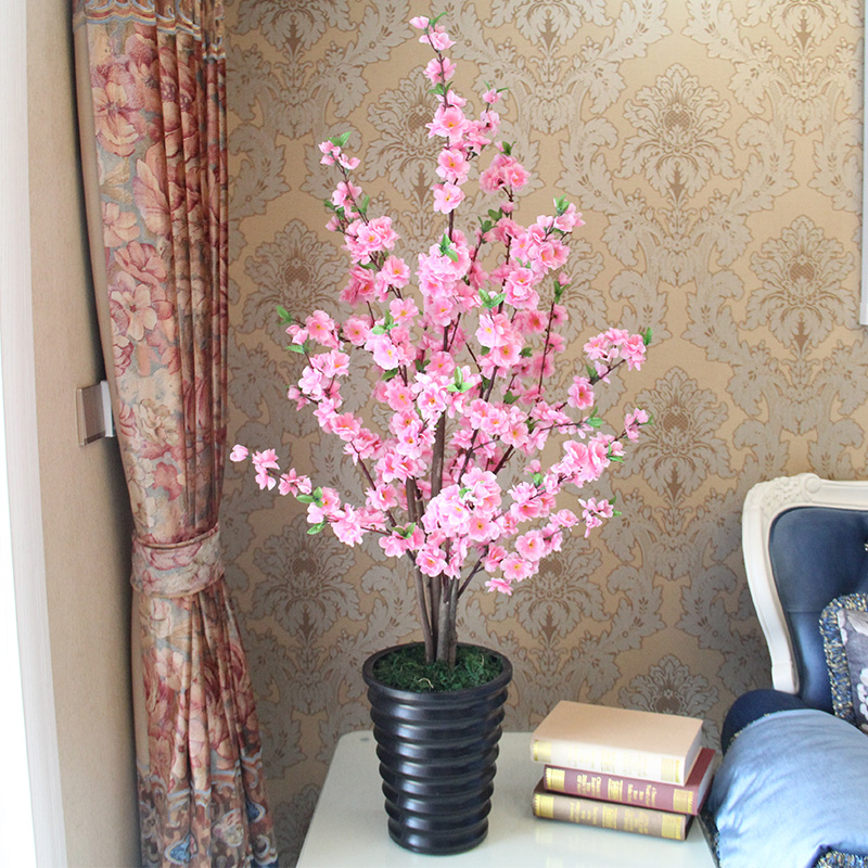 High simulation fake peach tree peach tree peach tree cherry trees cherry trees artificial flowers artificial flowers decorate the living room floor