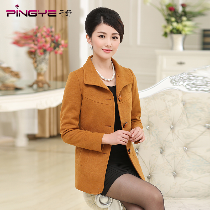 Hirano middle-aged middle-aged women mother dress wool coat spring middle-aged middle-aged women's spring coat spring and autumn short paragraph