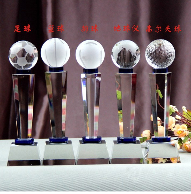 Hiroyuki upscale custom crystal trophy football basketball games table tennis tournament trophy crystal trophy custom