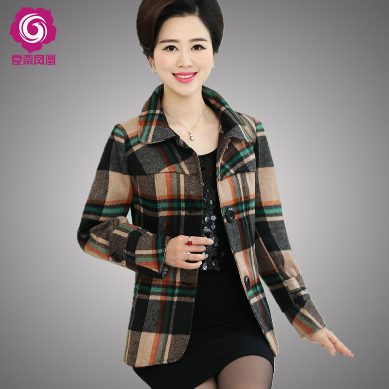 Hitz middle-aged middle-aged ladies short coat 40-50-year-old middle-aged women in spring and autumn long sleeve mother dress coat