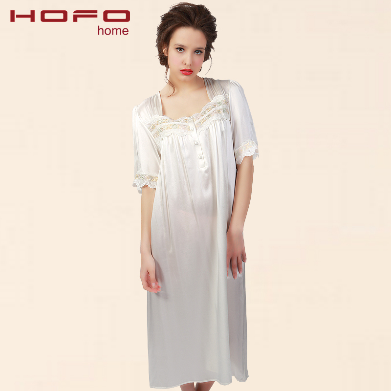 c96576d556 Get Quotations · Hofo spring and summer silk nightgown ms. silk robe silk  robe leisure big yards white