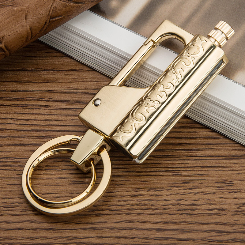 Honest genuine metal keychain creative personality million matches kerosene flint buckle outdoor portable water