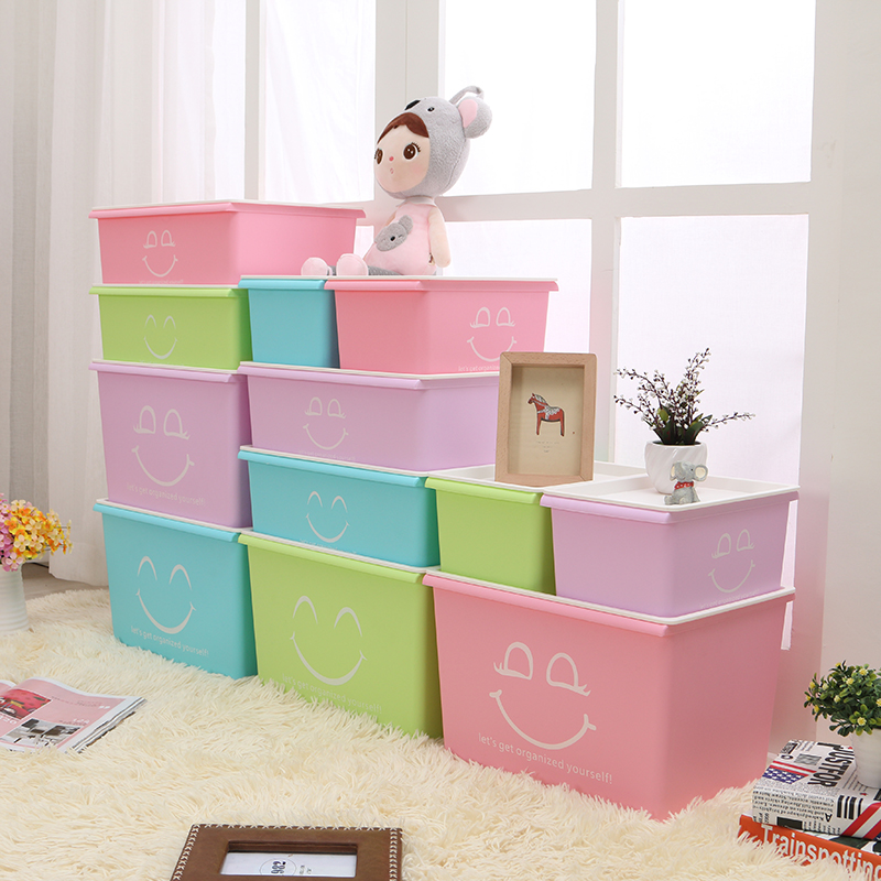 Honey honey flower colorful smiley plastic storage box plastic sorting box covered storage box cosmetic underwear storage box