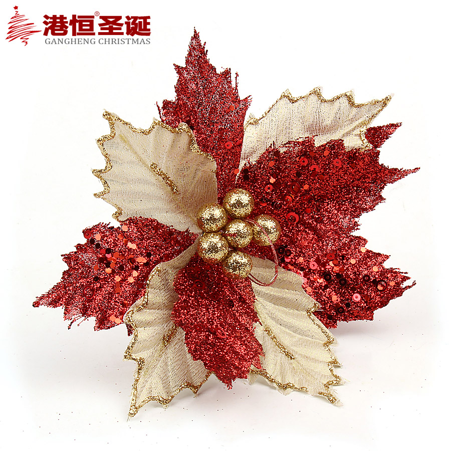 Hong kong hang 22cm golden gauze decoration christmas flower christmas tree decorations christmas decorations christmas flowers 20g
