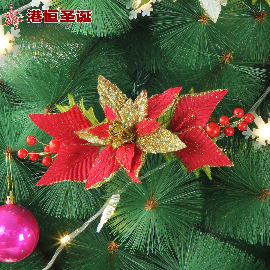 Hong kong hang christmas decorations 24x 12cm headed red and gold christmas door hanging cross christmas flower flowers into a branch 28g