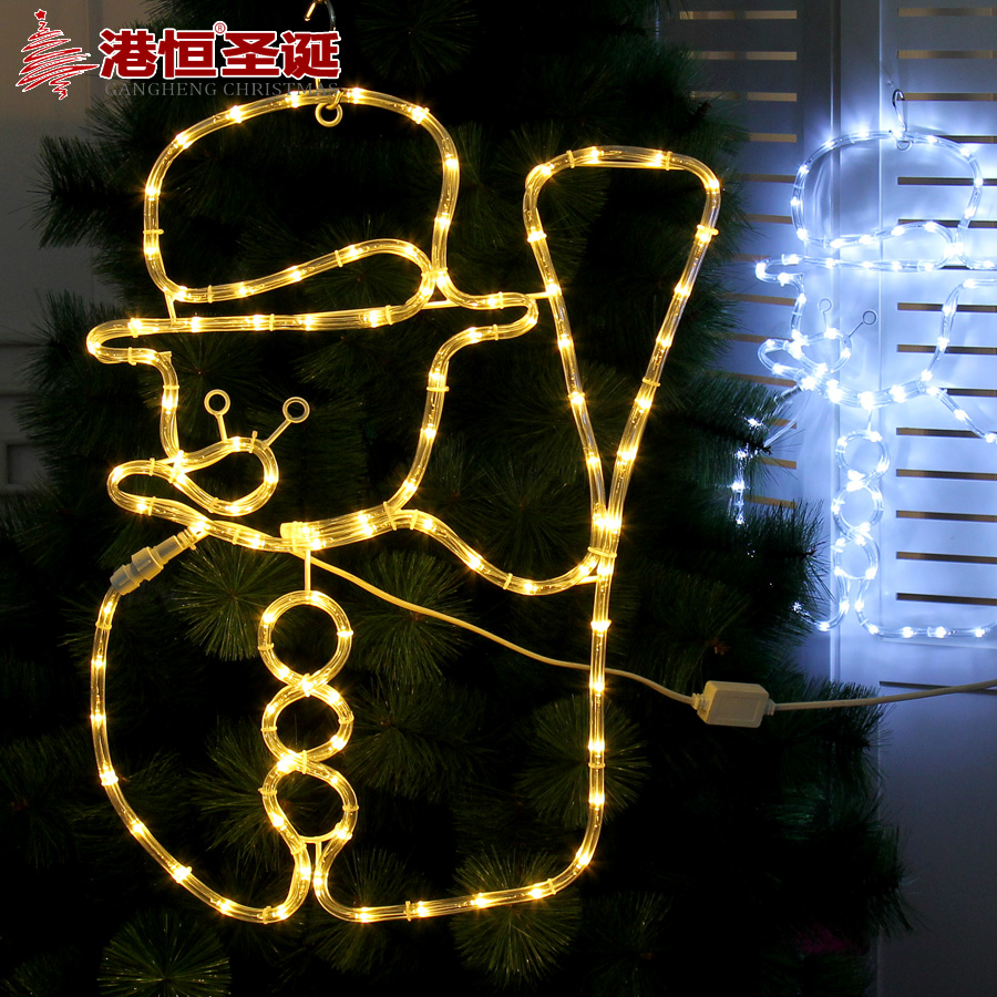 Hong kong hang christmas snowman shape neon lights modeling lights decoration hanging christmas ornaments 60cm color 750g