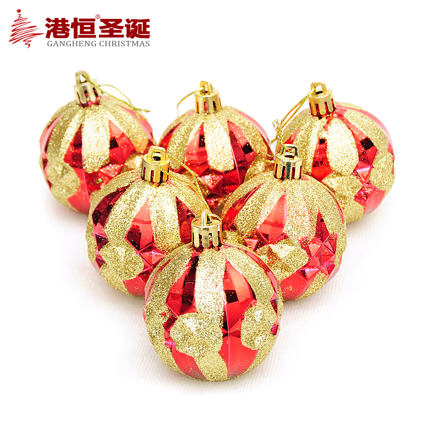 Hong kong hang christmas tree decorations 6cm red and gold diamond glitter plating christmas ball (6 pack) 75 G