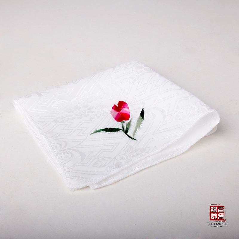 Hong poly embroidery boutique handmade embroidery/embroidery upscale true silk handkerchief silk embroidery boutique