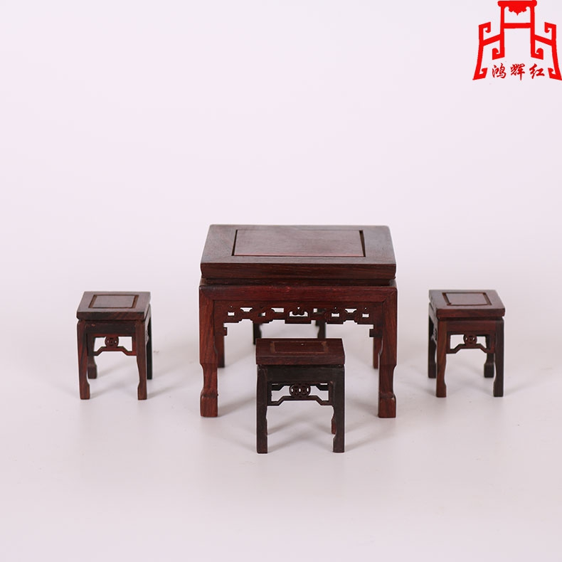 Honghui red rosewood mini furniture square table mahogany wood crafts wood carving small ornaments