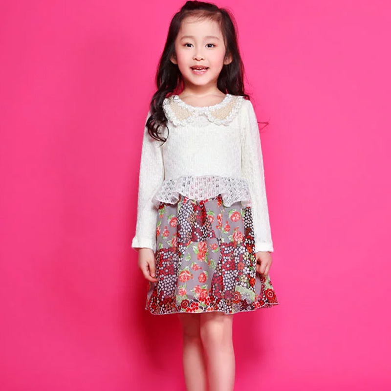Hot counters kids girls 2016 spring new chiffon flower girls princess dress girls zhongshan university