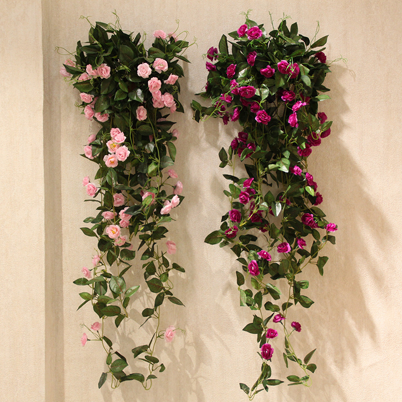 Hot Wo + Simulation Flower Vine Roses Romantic Wedding High Quality  Artificial Flowers Vine Flower Vine