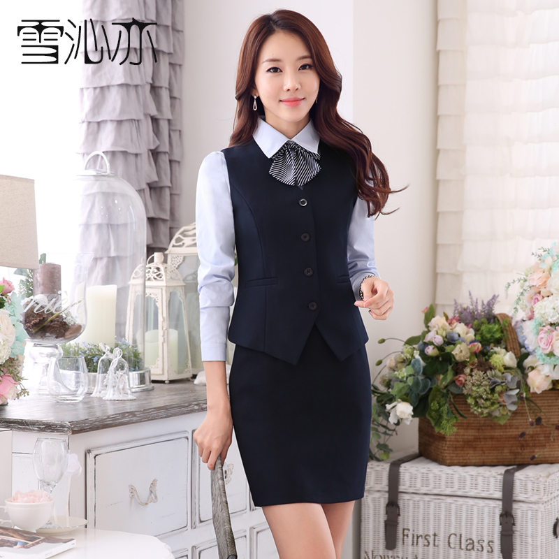 Hotel overalls fall and winter wear suit vest skirt suit female flight attendants stewardess uniforms ktv beauty salon overalls