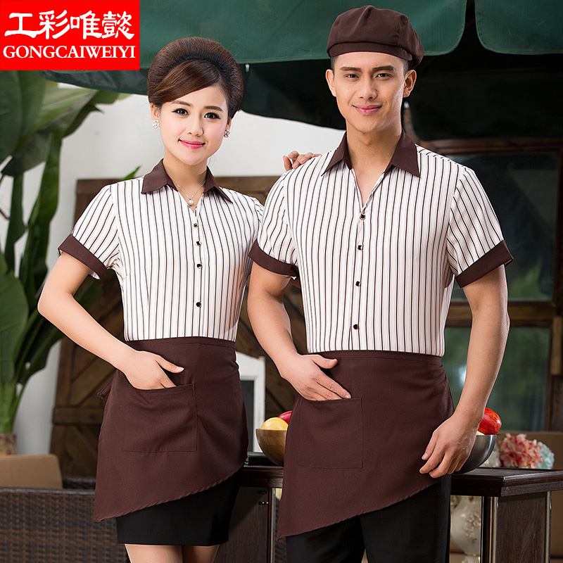 Hotel overalls spring and autumn female overalls hotel uniforms restaurant waiter uniforms short sleeve short sleeve summer clothes + apron