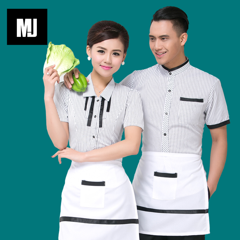 Hotel overalls summer fast food restaurant hot pot restaurant waiter sleeved overalls female hotel restaurant work clothes