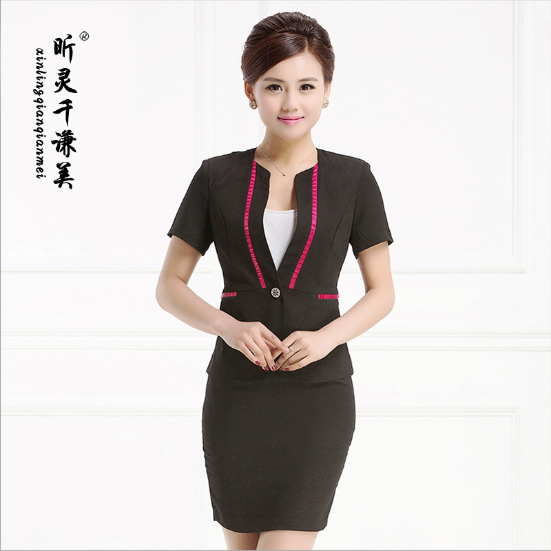 Hotel overalls summer female short sleeve ol wear overalls hotel front desk by management uniforms interview female skirt