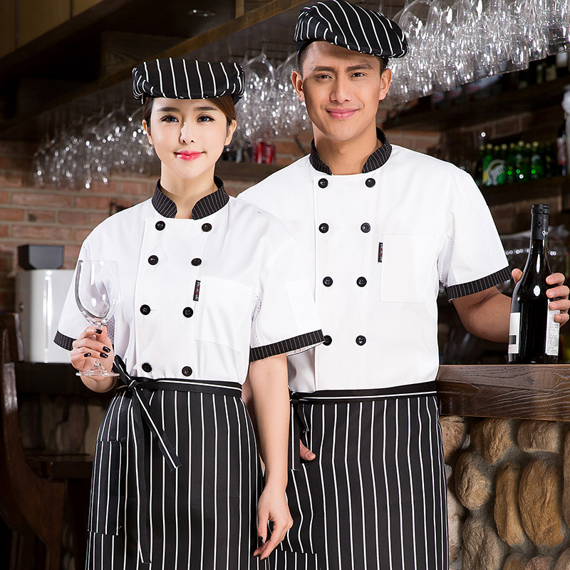 Hotel restaurant chef uniforms chef clothing short sleeve summer cafe cake decorating division shop tooling uniform