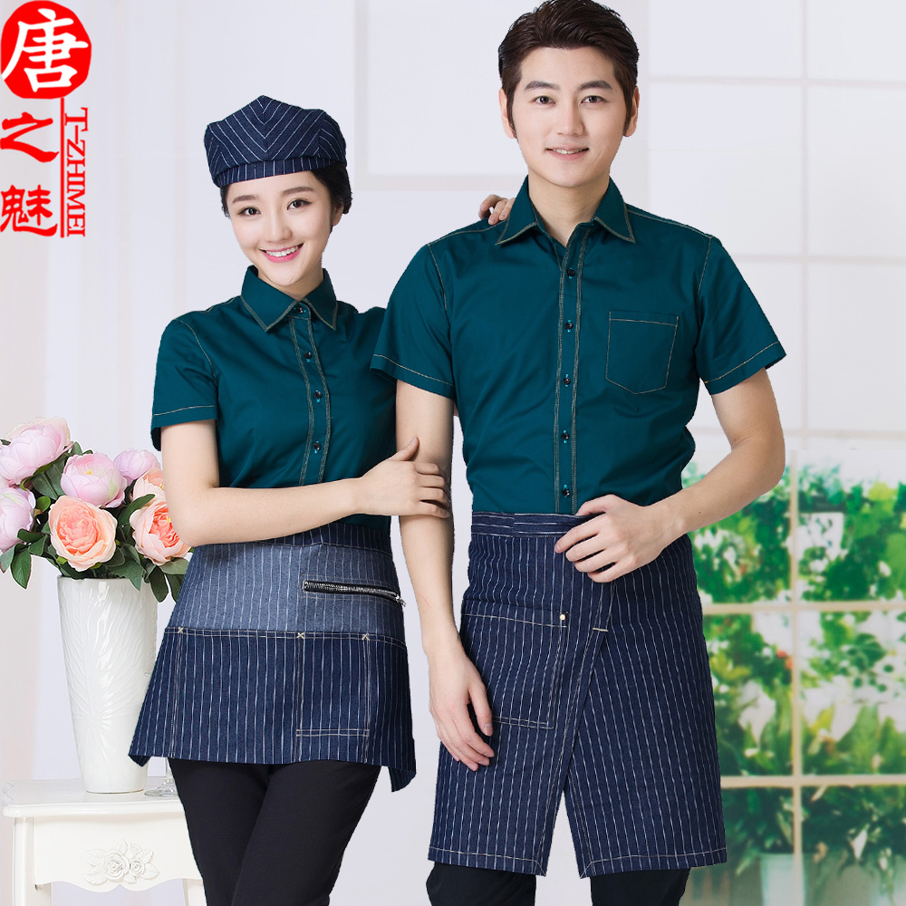Hotel uniforms female summer fast food restaurant cafe waiter sleeved burning broasted shop catering restaurant tooling