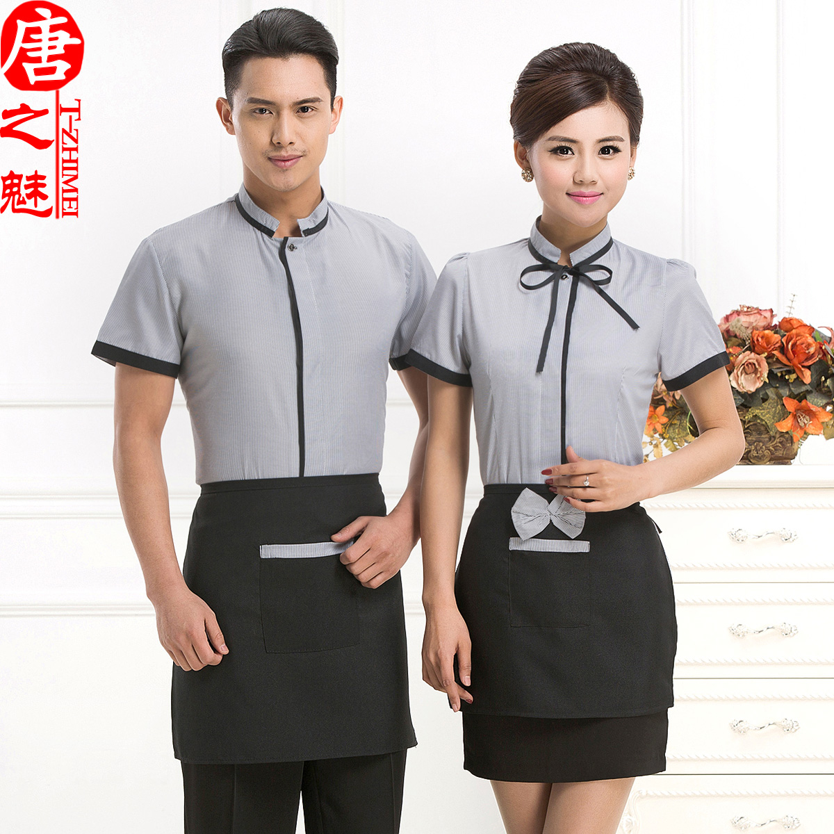 Hotel uniforms summer clothes for men and women dining restaurant waiter uniforms hotel cafe hotel restaurant sleeved