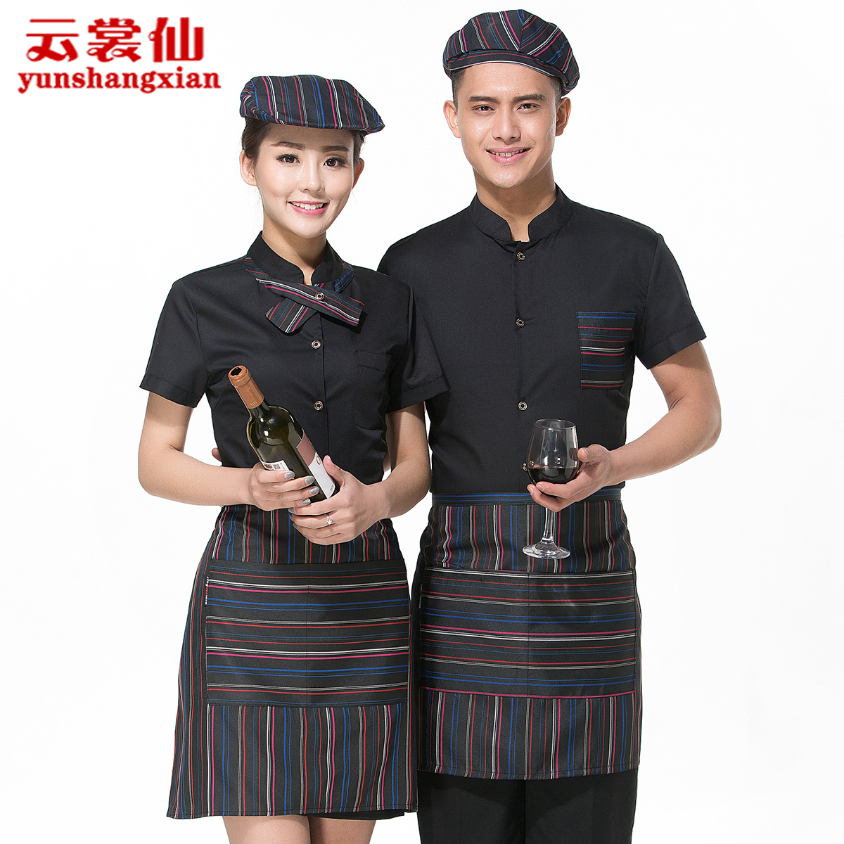 Hotel uniforms summer female hotel restaurant dining restaurant pot shop attendant short sleeve men clothing uniforms