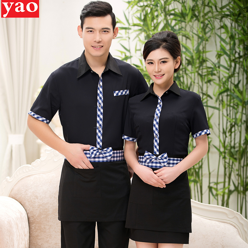 Hotel uniforms summer female hotel restaurant hot pot restaurants catering waiter overalls sleeved work uniforms male