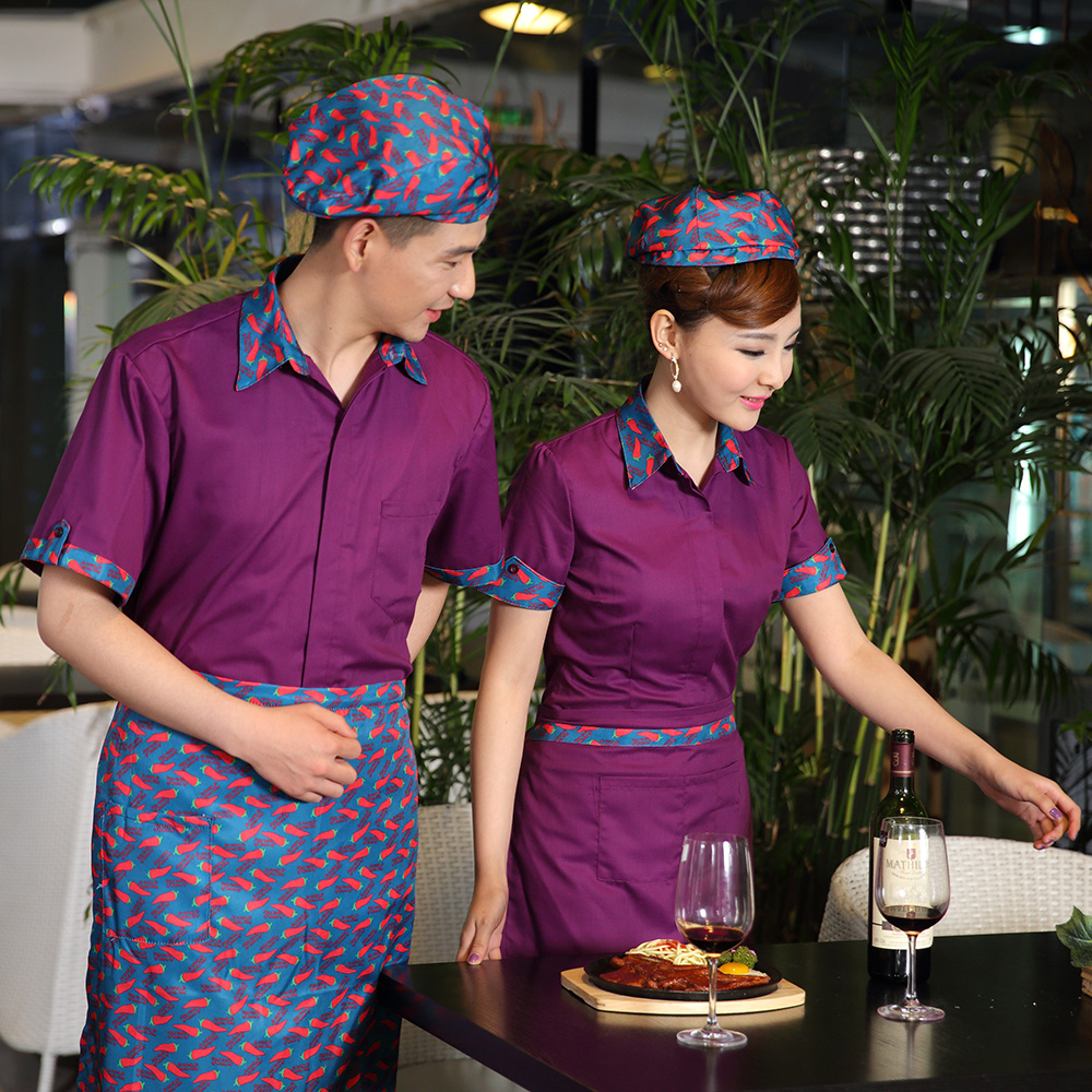 Hotel uniforms summer female hotel restaurant waiter sleeved uniforms restaurant teahouse tea specialist clothing men