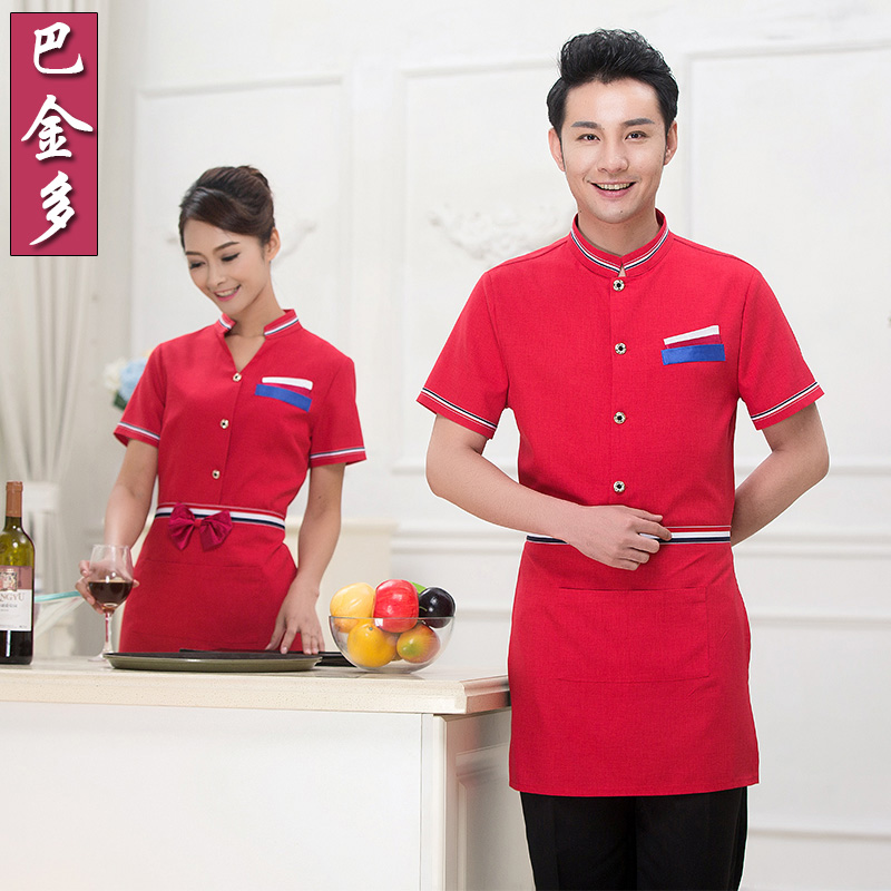 Hotel uniforms summer female restaurant hot pot restaurant waiter sleeved uniforms restaurant uniforms short sleeve summer