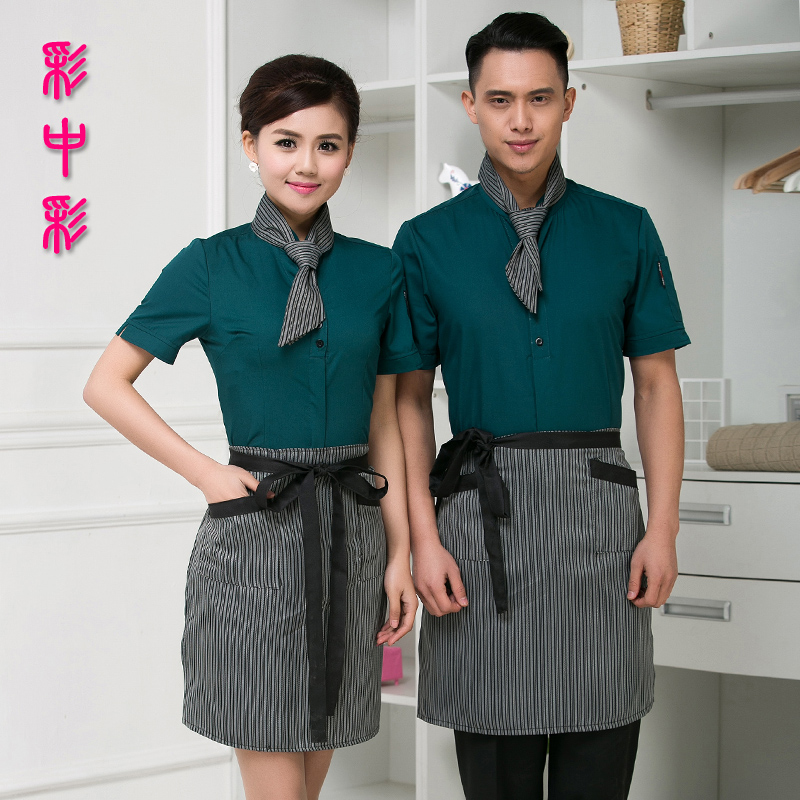 Hotel uniforms summer female waiter sleeved clothing restaurant waiter sleeved overalls uniforms