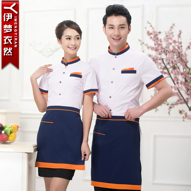 Hotel waiter uniforms overalls summer short sleeve clothing for male and female restaurant restaurant pantry students summer uniforms