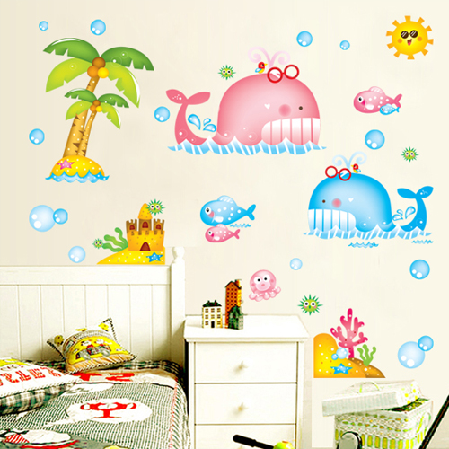 House music removable wall stickers children's room cute whale bathroom toilet cartoon decorative sticker specials