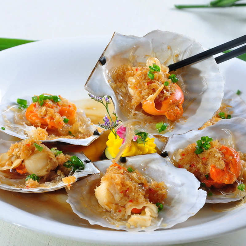 [House] with fresh scallops with garlic fans 200g frozen half shell scallops fresh shellfish seafood barbecue ingredients