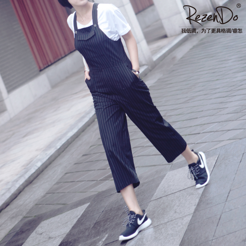How rui summer new strap jeans female korean elastic waist casual pants slim was thin pantyhose female siamese pants