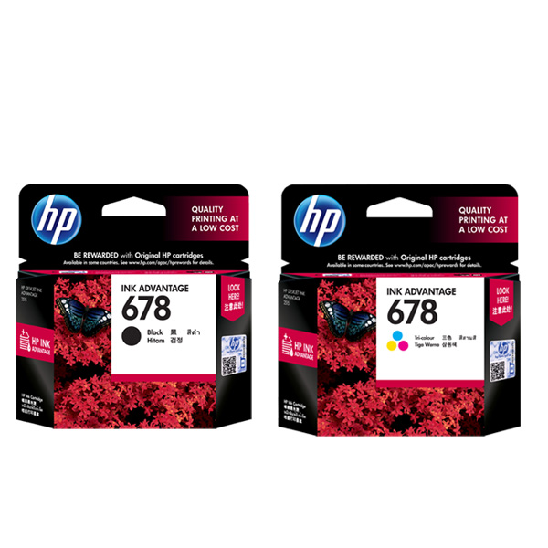 Hp/genuine original hp no. 678 black + tricolor cartridges set 2515 3548 4518 cartridges