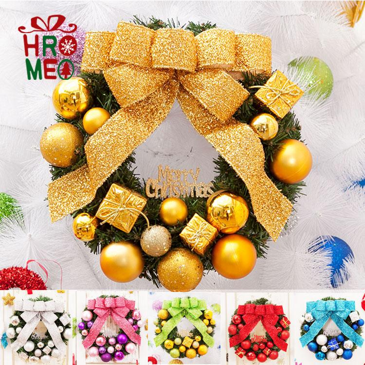Hromeo 40/50/60cm golden christmas balls decorated christmas wreath wreath large christmas wreath custom