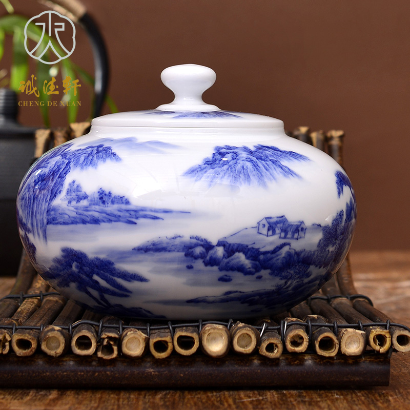 Hsuan tsang tak jingdezhen ceramic handmade porcelain tea caddy painted blue and white no. 40 qianshan emerald green